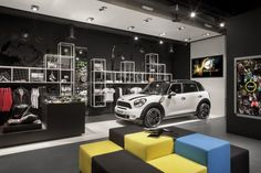 MINI'S LONDON POP-UP SHOP MERGES CARS WITH FASHION RETAILING // a lifestyle pop-up store in Westfield Stratford to showcase the brand in a completely different context from traditional dealership setting.