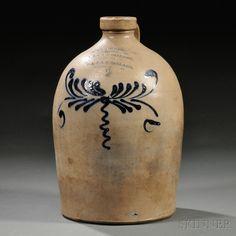 OL & aK Ballard 2 gallon straigh sided Cobalt-decorated Salt-glazed Stoneware Jug