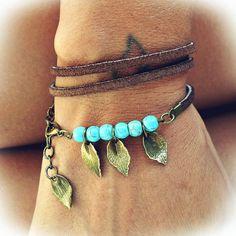 Bohemian leather wrap bracelet Leaf bracelet by MSwithlove on Etsy