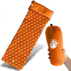 Legit Camping Sleeping Pad Camping Mat by The Most Comfortable Sleeping Mat - Rolls Up Tight - Air Support Cells Transform Your Camping Mattress and Camping Pad - Best Outdoor Sleep (Orange)