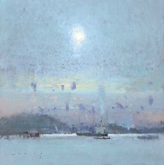 Fowey Harbour, October Sky FRED CUMING RA Oil on board 16 x 16 in.
