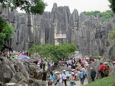 The Stone Forest at Shilin near Kunming, Yunnan, China, is popular among Chinese tour groups. Kunming, Group Tours, Mount Rushmore, Chinese, Popular, Mountains, Stone, Nature, Travel