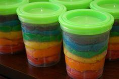 Homemade Rainbow PlayDough Stored in Freezer Canning Jars