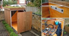 un garaje para bicicletas con techo verde