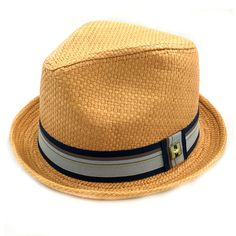 "Get your funky style on with this 100% paper straw fedora. It is thickly woven with a 1 1/2"""" grosgrain ribbon band in light grey, charcoal, and black colors. Inside it features a fused lining and rib"