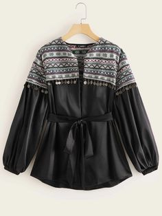 To find out about the Fringe Trim Tribal Jacquard Yoke Belted Satin Coat at SHEIN, part of our latest Outerwear ready to shop online today! Pakistani Dresses Casual, Indian Fashion Dresses, Girls Fashion Clothes, Teen Fashion Outfits, Jeans Fashion, Fashion Top, Fashion 2020, Trendy Fashion, Style Fashion