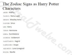 Signs as Harry Potter characters