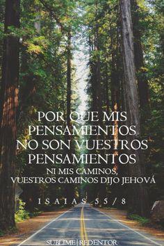 Isaías 55:8 Porque mis pensamientos no son vuestros pensamientos, ni vuestros caminos mis caminos, dijo Jehová.