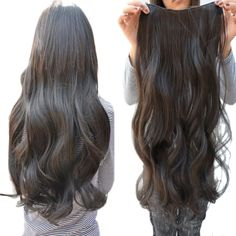 Easy lifestyles Gorgeous Long Curly Clip-on Hair Extension Wigs - Black -- Visit the image link more details.