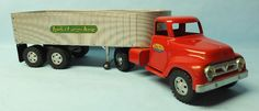 VINTAGE 1950′s TONKA CARGO KING TRUCK & TRAILER PRESSED STEEL TOY