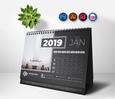 This is a Minimal Desk Calendar for In this design light and dark version included.