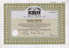 Historische Aktie - EKU Erste Kulmbacher Brauerei AG 1990 (1 Aktie/50 DM)