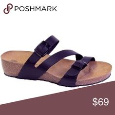 "Lola Sabbia Cork Sandals! Beautiful Cork 1.5"" heel with lovely raised arch bed and leather straps with adjustable buckle straps in black...soooo easy....too cute and perfect for this hot weather...it is the less expensive, pretty sister of the birk! Made in sunny Portugal Lola Sabbia Shoes Sandals"