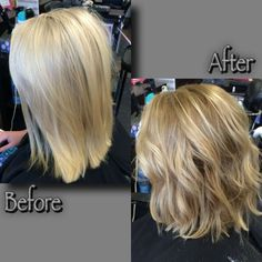 Avant-Apres : Before & after color I did on a client. From platinum blonde to a soft ombr