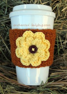 Free crochet Autumn Fall Flower coffee cup cozy pattern