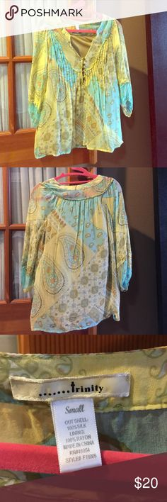 Silk Blouse Beautiful Silk Blouse! Perfect summer colors Trinity Tops Blouses