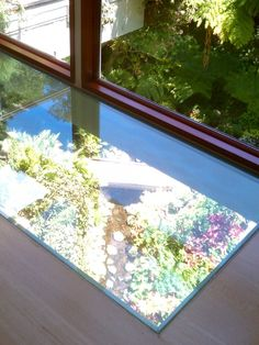 A window through the floor provides a view of the stream below.