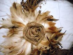 burlap flower w/ feathers