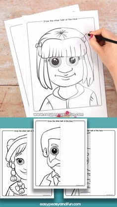 Let your students learn about symmetry and also practice their drawing with this set of fun portrait faces symmetry draw Drawing For Kids, Art For Kids, Crafts For Kids, Drawing Activities, Activities For Kids, Female Face Drawing, Drawing Faces, Drawing Drawing, Face Symmetry