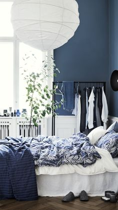 interiorbedroom bedroom washed cotton duvet cover white home set all hm us Washed Cotton Duvet Cover Set White Home All HM USYou can find Bedroom and more on our website Navy Blue Bedrooms, Blue Rooms, White Bedroom, Modern Bedroom, Linen Bedroom, Master Bedroom, Blue Walls, Bedroom Wall, Blue Teen Girl Bedroom