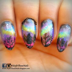 Style Those Nails: Northern Lights Nail art- #52WPNMC Brush Stroke