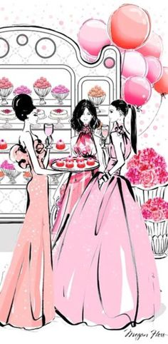 Dessert and cocktails with friends wearing our ball gowns. Megan Hess