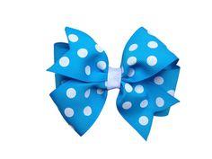 Blue polka dot hair bow  blue polka dot bow by BrownEyedBowtique, $5.00 @Sierra Shupe my bday present?