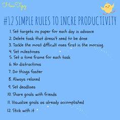 Imagini pentru 12 Rules to boost productivity