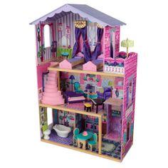 Kidkraft Mijn Droomvilla - Houten poppenhuis. Met 'mijn droomvilla' wordt spelen met poppen realistischer dan ooit. Het houten poppenhuis beschikt over 13 kleurrijke meubelstukken, 2 prachtige hemelbedden, groot terras, lift met gloednieuw glijontwerp, gevormde draaitrap en brede vensters, zodat meisjes hun poppen vanuit verschillende hoeken kunnen bekijken. Het huis is geschikt voor modepoppen tot 30 cm lang.