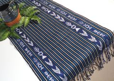 Indigo Blue and Ikat, Tribal Table Runner, Handwoven Textile, Intricately Designed Ikat, Backstrap Loomed Indigo Blue, Ikat, Table Runners, Hand Weaving, Textiles, Interior Design, Unique Jewelry, Handmade Gifts, Etsy