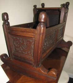 19th C Jacobean style English cradle dated 1685 on the front of the cradle