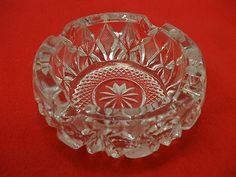 ANOTHER GREAT REPURPOSING ITEM:    HEAVY, CRYSTAL GLASS ASHTRAY!    1970'S ERA!    CLEAR!    QUITE HEAVY AT 3 LBS.!