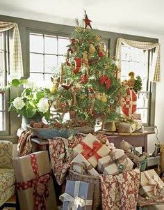 This is me!! My grandma always had her tree on a table and i always loved that!!!Tabletop tree with baskets of presents.