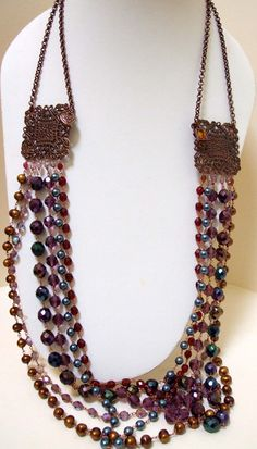 Montmartre - one of a kind copper filigree necklace with Czech beads and freshwater pearls. $109.00, via Etsy.