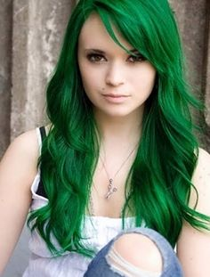 Womens Long Hair - Color Green would never do the color but the hair cut is super cute!