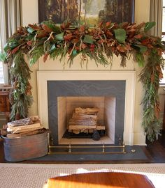 Natural Greenery Christmas Mantel in Southern Living Idea House
