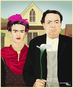 Frida and Diego, American Gothic parody by Elroy Gullermo #Frida #FridaKahlo - Carefully selected by GORGONIA www.gorgonia.it