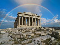 A rainbow over the Parthenon in Greece