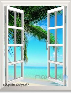 Large Palm Tree Beach 3D Window View Removable Wall Decals Sticker Home decor | Home & Garden, Home Décor, Wall Stickers | eBay!
