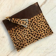 leopard print purse /  cow hair zipper pouch with tassel. Gift for women.  OOAK purse