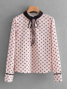 SheIn offers Tie Neck Polka Dot Blouse & more to fit your fashionable needs. Work Dresses For Women, Stylish Dresses For Girls, Teen Fashion Outfits, Girl Fashion, Casual Outfits, Hijab Stile, Newborn Girl Dresses, Jugend Mode Outfits, Polka Dot Blouse