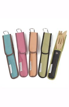 One of our Best Sellers! Go anywhere with the handy to-go ware utensil set. Ecological and economical. Includes bamboo fork, knife, spoon AND chopsticks, in a handsome carrying case fashioned from recycled PET plastic. Also features a convenient carabiner clip to attach to your belt, backpack, or picnic basket.