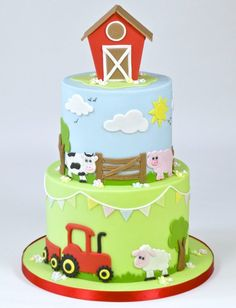 Cute Farm Yard Cake Tutorial brought to you by FMM Sugarcraft. The latest cutter. Cute Farm Yard C Farm Birthday Cakes, Animal Birthday Cakes, Farm Animal Birthday, 2nd Birthday Cake Boy, Farm Yard Birthday Party, Birthday Cupcakes, Birthday Ideas, Farm Animal Cakes, Farm Animals