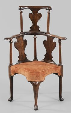 Queen Anne Walnut Corner Chair  British, 18th century, walnut and other mixed woods, orange velvet upholstery, 43 x 29 x 24-1/2 in. - Collection of Drs. Phillip and Nancy Holland, Kentucky
