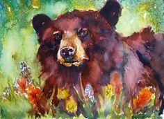 Wildflower Bear Watercolor Print by Maure Bausch by twopoots, art Bear Watercolor, Watercolor Animals, Abstract Watercolor, Watercolor Paintings, Painting Art, Watercolour Tattoos, Bear Paintings, Bear Illustration, Bear Art