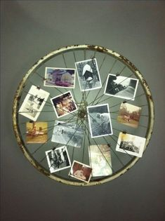 Old Bicycle Wheel Picture Frame. Turn an old bicycle wheel turned into a picture… Old Bicycle Wheel Picture Frame. Turn an old bicycle wheel turned into a picture frame for your wall. Photo Frame Display, Display Family Photos, Photo Displays, Picture Frames, Display Ideas, Display Wall, Photo Frame Ideas, Frames Ideas, Photo Frames Diy