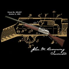 """Browning Auto-5—original patent art t-shirt design by PatentWear.  John Browning, often known as the """"father of modern firearms,"""" considered the Auto-5 shotgun invention to be his crowning achievement. With over 128 patents to his name—primarily in firearm development—his personal view of the Auto-5 is significant. See more of The Story at www.patentwear.com"""