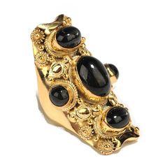 Soixante Neuf Five Stone Black Star Sapphire Ring found on Polyvore