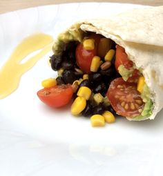 Bohnen-Wrap süß-sauer/Sweet-And-Sour Black Bean Wrap - ein Rezept - vegan - von applethree.de