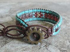 Beaded leather wrap cuff bracelet.